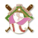 Breast Awareness Pin Pink Ribbon Baseball Bat Hat Strike Out Cancer Cap Tac New