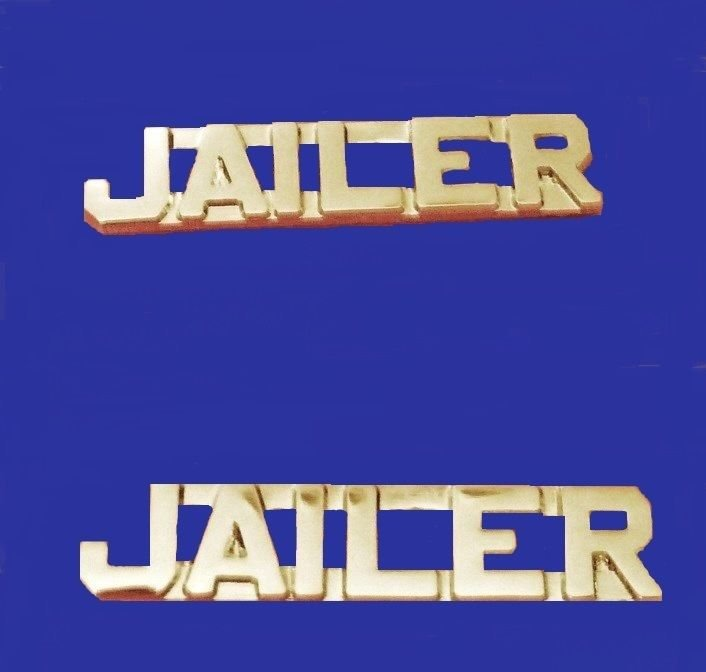 Jailer Collar Pin Set Professional Quality Nickel plated Cut Out Letters 2221
