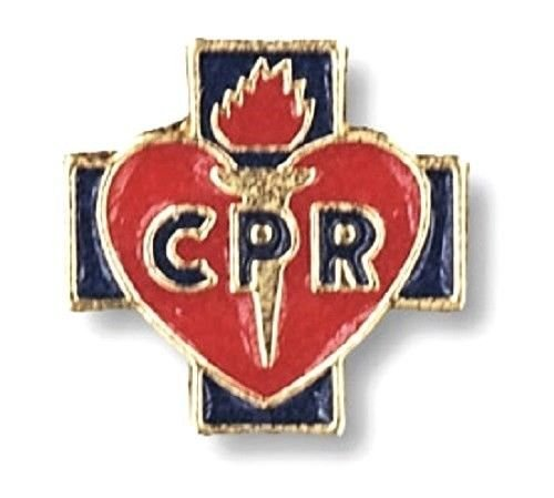 CPR Lapel Pin Tac Red Heart Blue Cross Medical EMT EMS Student Graduation New