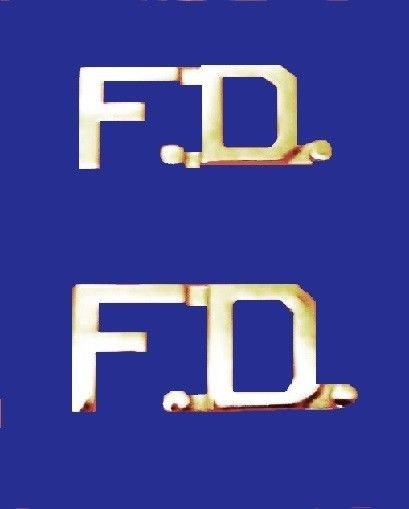 F.D. Fire Department Collar Pin FD Insignia Set Nickel Cut Out Letters 2509N New