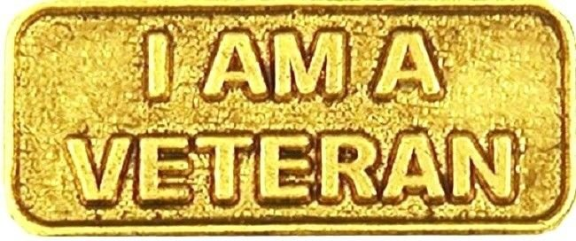 I Am A Veteran Lapel Pin Made In USA Gold Plated Military Honor Vet Cap Tac New