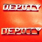 """Deputy Collar Pin Device Set Cut Out Letters 1/4"""" Sheriff Dept. Nickel 2219 New"""