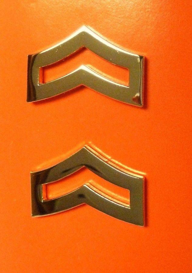 "Corporal Collar Device Pin Set Chevron Rank Insignia 1"" Police Gold P762G New"