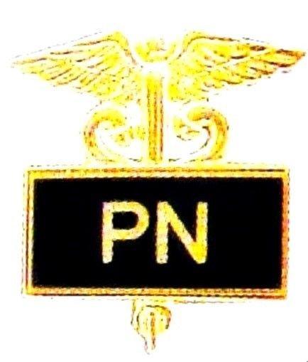 Practical Nurse PN Pin Medical Black Inlaid Caduceus 3507B New