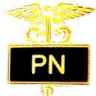Practical Nurse PN Pin Medical Black Inlaid Caduceus 3507B New