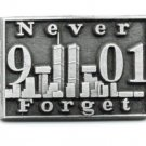 Never Forget 9-11-01 Twin Towers Pin Terror Pewter World Trade Ctr. USA Made New