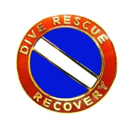 Dive Rescue Recovery Pin Collar Device Diving Team Gold Scuba Diver Flag 68G2