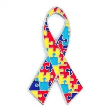 Autism Lapel Pin Asperger Awareness Colorful Puzzle Ribbon Silver Trim Supporter