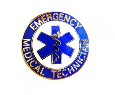 EMT Collar Pin Device Emergency Medical Technician Blue Gold Star of Life 58G2
