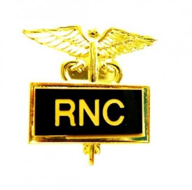 RNC Pin Registered Nurse Certified Medical Framed Black Inlaid Caduceus 3505B