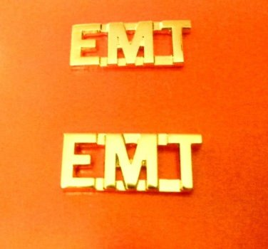 "EMT Collar Pin Set Gold 3/8"" Cut Out Letters Emergency Medical Technician 2462"
