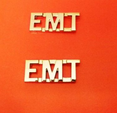 "EMT Collar Pin Set Nickel 3/8"" Cut Out Letters Emergency Medical Technician 2463"