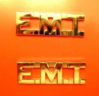 "EMT Collar Pin Set Gold 1/2"" Cut Out Letters Emergency Medical Technician 2506"