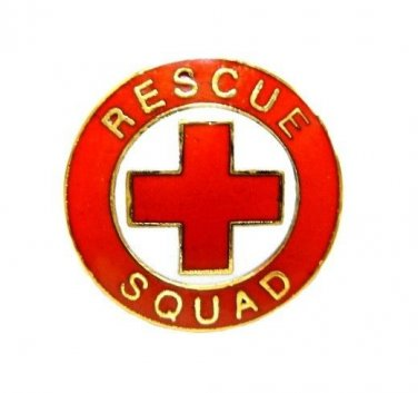 Rescue Squad Lapel Pin Tac Red Cross EMS Gold Military Clutch Back 70G1 New
