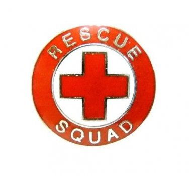 Rescue Squad Collar Pin Device Nickel Plated Silver Red Cross EMS 70S2 New