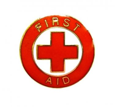 First Aid Red Cross Lapel Pin Gold Trim Cap Tac Tack Metal Clutch Back 69G1 New