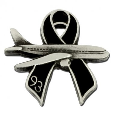 Flight 93 Black Ribbon Pin Jet Plane Memory Remembrance 9-11-01 Lapel Collar Tac