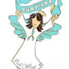 Teal Ribbon Awareness Pin Brown Hair Angel Survivor Ovarian Cancer PKD OCD New
