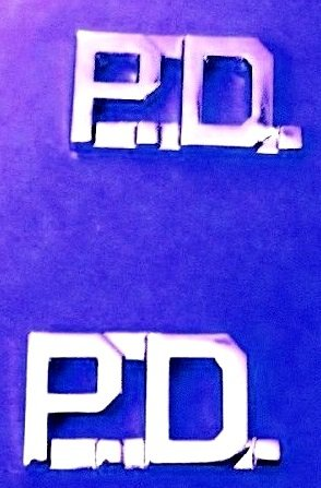 """P.D. Collar Pin Set Police Department PD Nickel 3/8"""" Cut Out Letter 2411 New"""