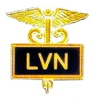 LVN Lapel Pin Licensed Vocational Nurse Inlaid Framed Caduceus Black 3506 New