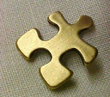 Autism Asperger Pin Antiqued Brass Awareness Crucial Puzzle Piece Cap Tac New