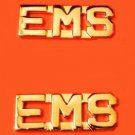 EMS Collar Pin Set  Emergency Medical Services Gold Cut Out Letters 2466 New