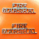 Fire Marshal Collar Pin Set Nickel Cut Out Letters Fire Dept Rank 2225