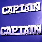 Captain Collar Pin Set Nickel Cut Out Letters Police Security Officer Rank 2423