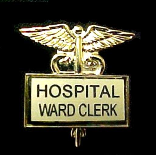 Hospital Ward Clerk Gold Plate Medical Insignia Emblem Pin Caduceus 3519G New
