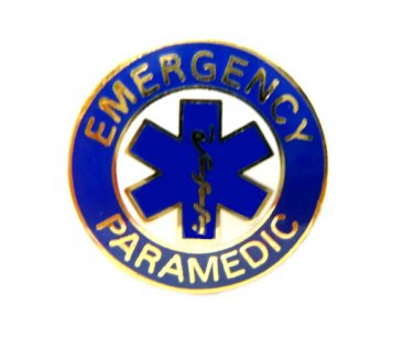 Emergency Paramedic Collar Device Pin Uniforms Gold Blue Star of Life New 63G2