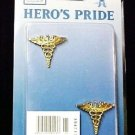 Caduceus Medical Officer Pin 2 Piece Set Collar Device Gold Tac Military New