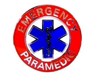 Emergency Paramedic Collar Pin Device Two Post Silver Red Blue Star of Life 64S2