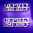 "Deputy Sheriff Collar Pin Device Set of 2 1/4"" Cut Out Letters Nickel 2217 New"