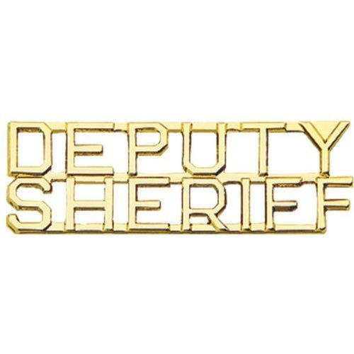 """Deputy Sheriff Collar Pin Device Cut Out Letters Set of 2 Police 1/4"""" Gold P2216"""