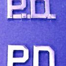 P.D. Collar Pin Police Department Set PD Nickel Metal Cut Out Letters 2515 New
