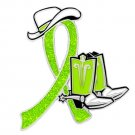 Muscular Dystrophy Lime Glitter Ribbon Cowgirl Cowboy Western Boots Hat Pin