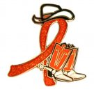Lupus Orange Glitter Ribbon Cowgirl Cowboy Western Boots Hat Lapel Pin New