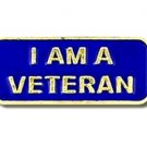 I Am A Veteran Lapel Pin Blue Gold Support Military Vets Hat Tac Patriotic New