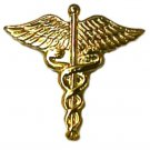 Caduceus Lapel Pin Tac Wings Medical Officer Gold Plate Cap Collar Serpent New