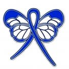 Blue Ribbon Butterfly Lapel Pin Rectal Cancer Awareness Month is March New