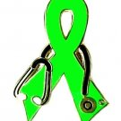 Lymphoma Awareness Stethoscope Lime Green Ribbon Lapel Pin Doctor Nurse New