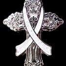 Brain Cancer Lapel Pin Awareness Gray Ribbon Religious Cross Church Lapel Pin New
