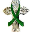 Cerebral Palsy Lapel Pin Green Awareness Ribbon Religious Cross Church
