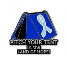 Prostate Cancer Pin Awareness Light Blue Ribbon Tent Hope Camper