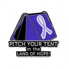 Stomach Cancer Pin Awareness Periwinkle Ribbon Tent Land of Hope Camper