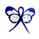 Blue Ribbon Butterfly Lapel Pin Colorectal Cancer Awareness New