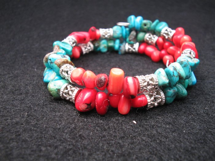 Turqoise and Coral Bracelet