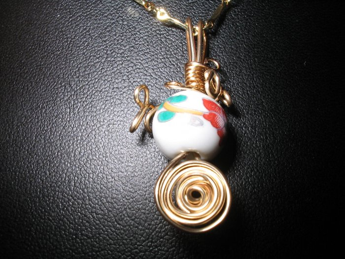 Wire Wrapped Porcelain Pendant