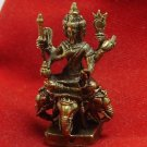 HINDU MINI BRASS AMULET LORD BRAHMA PHROM TRIMURTI RIDE 4 FACES ERAWAN ELEPHANT