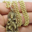 OHM GANESH GANESHA HINDU LORD OF SUCCESS GOD AMULET PENDANT GOLD PLATED NECKLACE